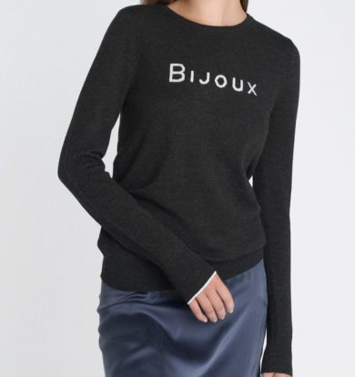 Ille de Coco Bijoux Sweater in Black Marl / Pebble  / Silver