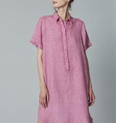 120% Lino Pink Shirt Dress