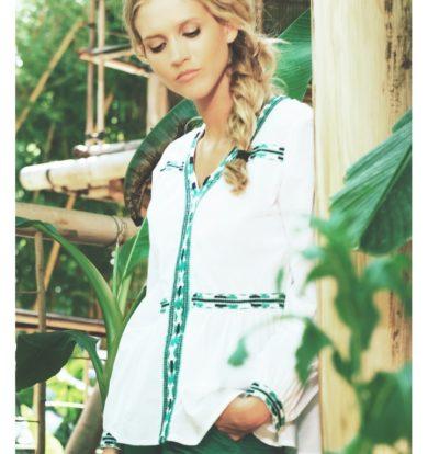 Le Petit Baigneur Cotton Peasant Blouse in Green & White