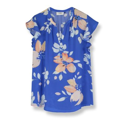 Pyrus Lulu Top in Blue Hera Print