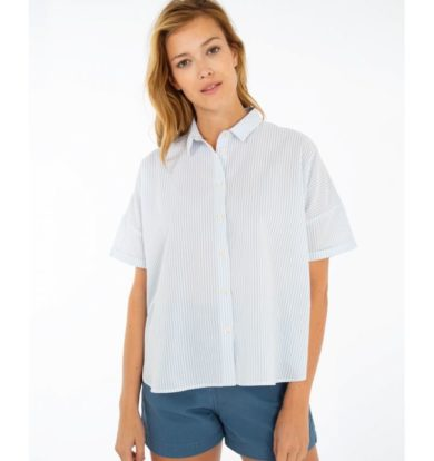 Armor Lux Seersucker Cotton Shirt – White / Moody Blue