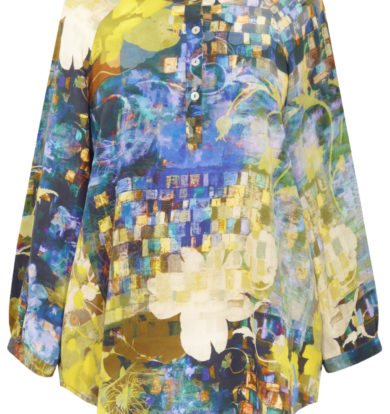 Pazuki Tunic Shirt in Dark Mosaic Print – Blue & Lime