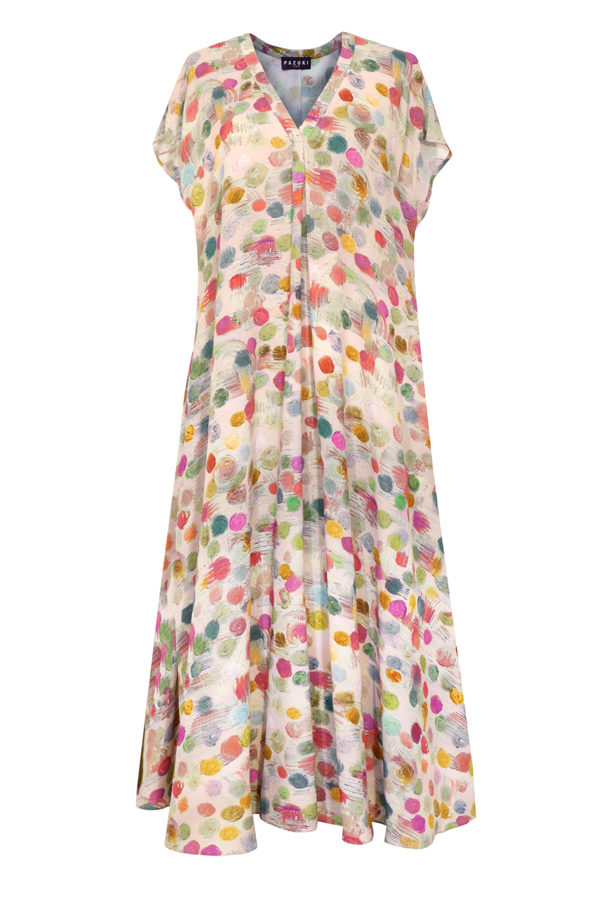 Pazuki-SS19-PZ57DR-Bubbles-Pink-Viscose-Dress-Front