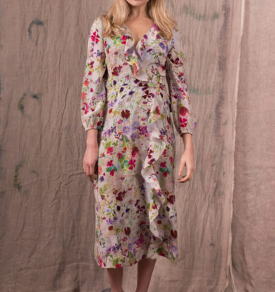 Pazuki Damask Rose Silk Crepe de Chine Wrap Dress