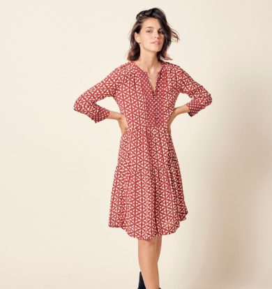 Stella Forest Printed Long Sleeve Dress in Rouge