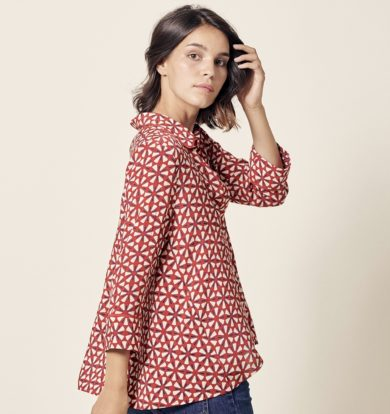 Stella Forest Lotus Blouse in Red and Cream – Sold Out