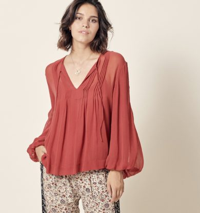 Stella Forest Julienne Pintuck Blouse in Cerise