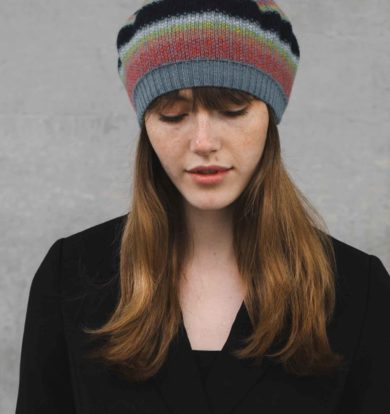 Quinton & Chadwick Tweed Beret in Petrol / Rainbow