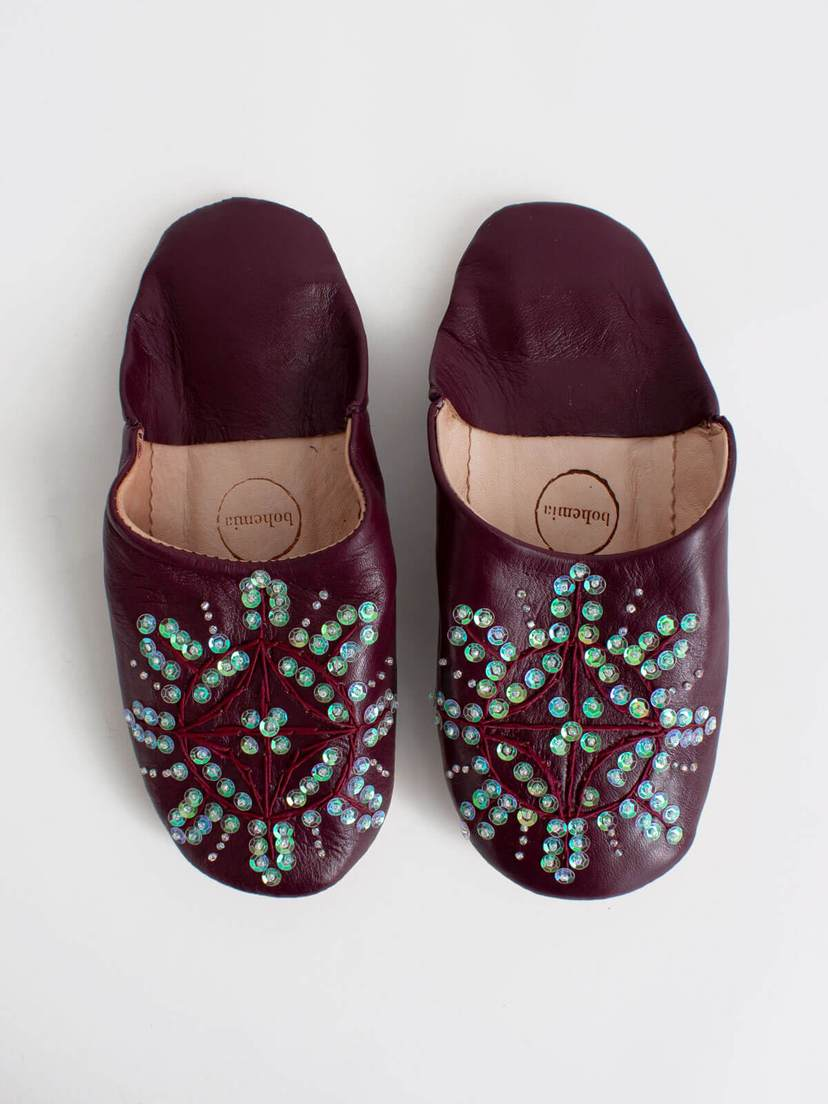 Bohemia Babouche Sequin Slippers in Pomegranate
