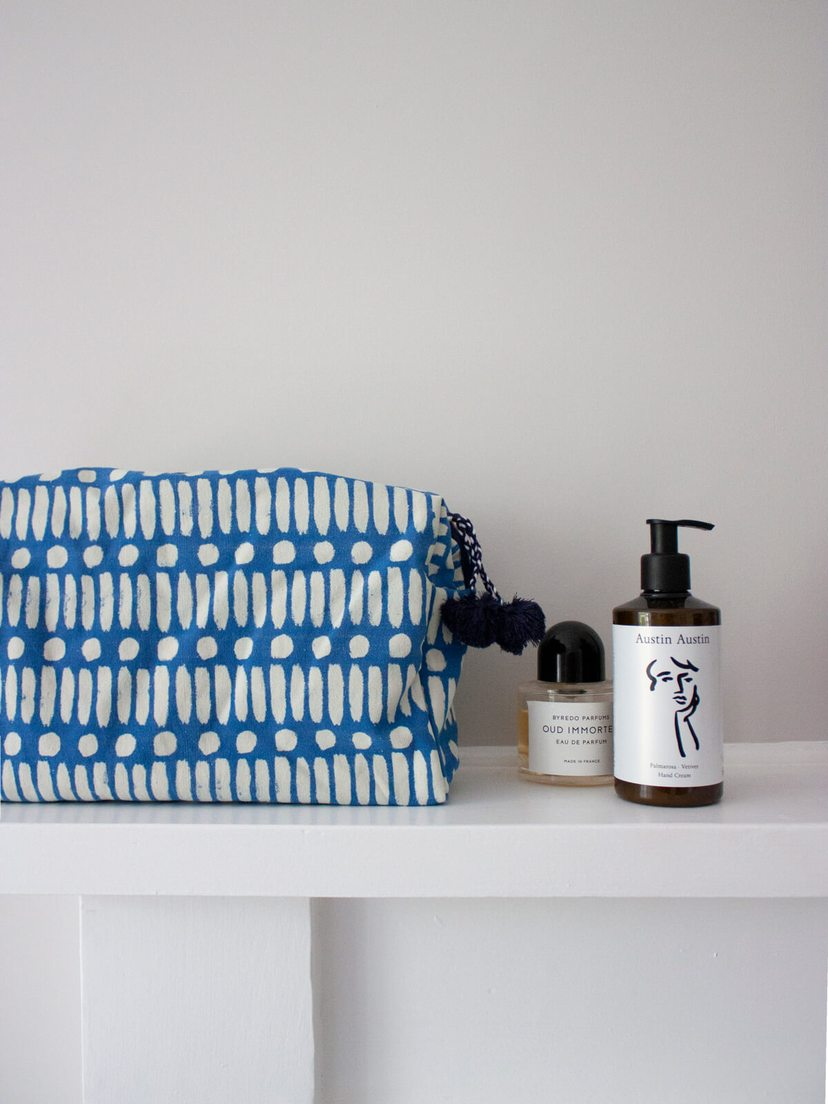 Bohemia Dot Dash Wash Bag in Cobalt Blue