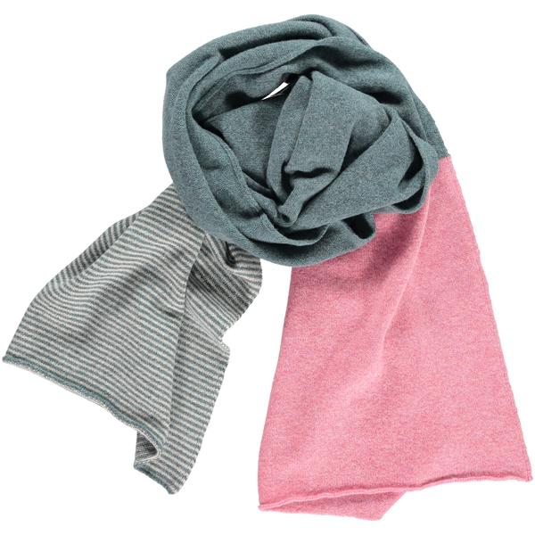 Catherine Tough Sage Green and Pink Wide Stripe Lambswool Scarf