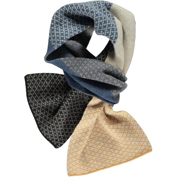 Catherine Tough Cross Block Oat, Denim and Charcoal Lambswool Scarf