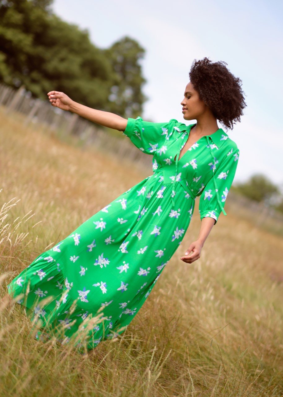Primrose Park x Ossie Clark Loopy Lou Dress in Pixie Green