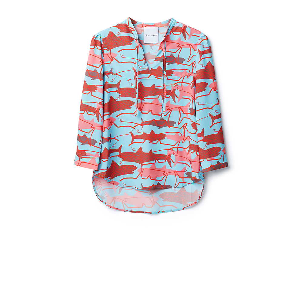 Delicate Love Pauline B Shark Blouse in Aqua & Lobster