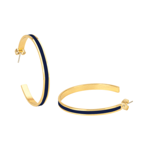Bangle Up Hoop Enamel and Gold Hoop Earrings in Deep Night Blue
