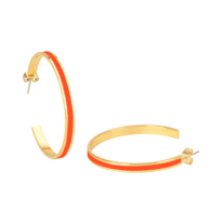 Bangle Up Hoop Earrings in Gold / Paprika