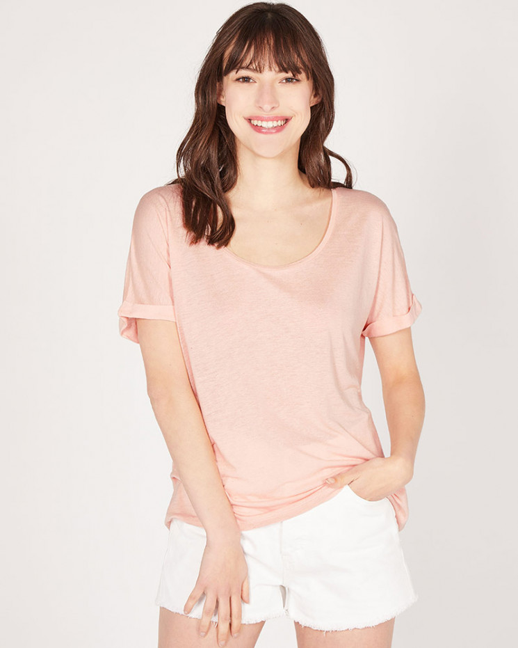 Absolut Cashmere Recycled Linen Laetitia T-shirt in Rose Pink