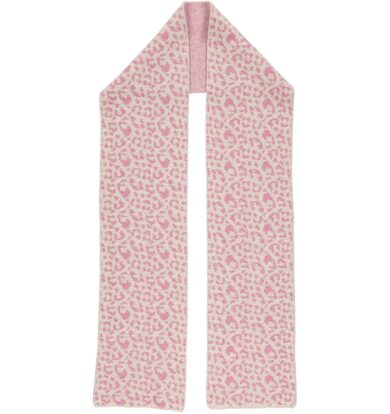 Catherine Tough Oat and Pink Leopard Knitted Scarf