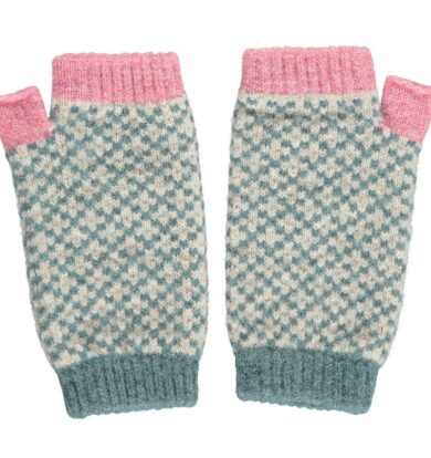 Catherine Tough Pink and Sage Wrist Warmers