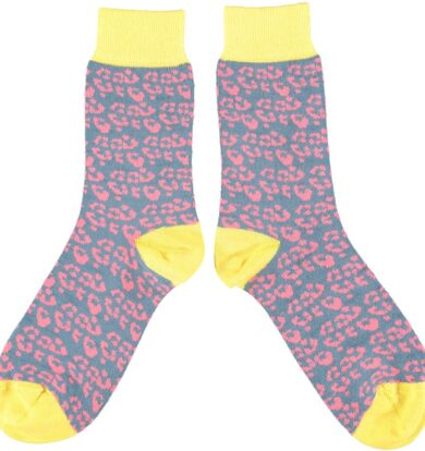 Catherine Tough Smoke Blue and Pink Leopard Socks with Yellow Trim