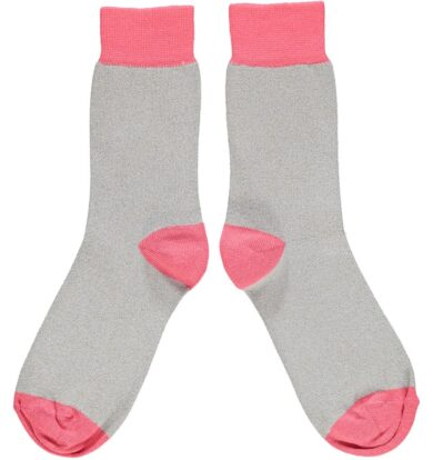 Catherine Tough Glitter Ankle Socks in Grey and Pink