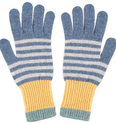 Catherine Tough Lambswool Gloves in Denim /Grey / Yellow
