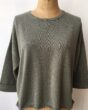 Cash CA Turn Back Cuff Wide Body Crew Neck Sweater in Ash