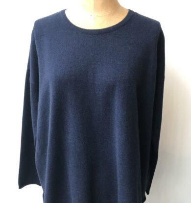 Cash CA Side Panel Crew Necked Sweater in Navy
