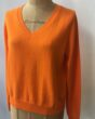 Cash CA Easy Simple V Neck in Big Orange in Cotton / Cashmere