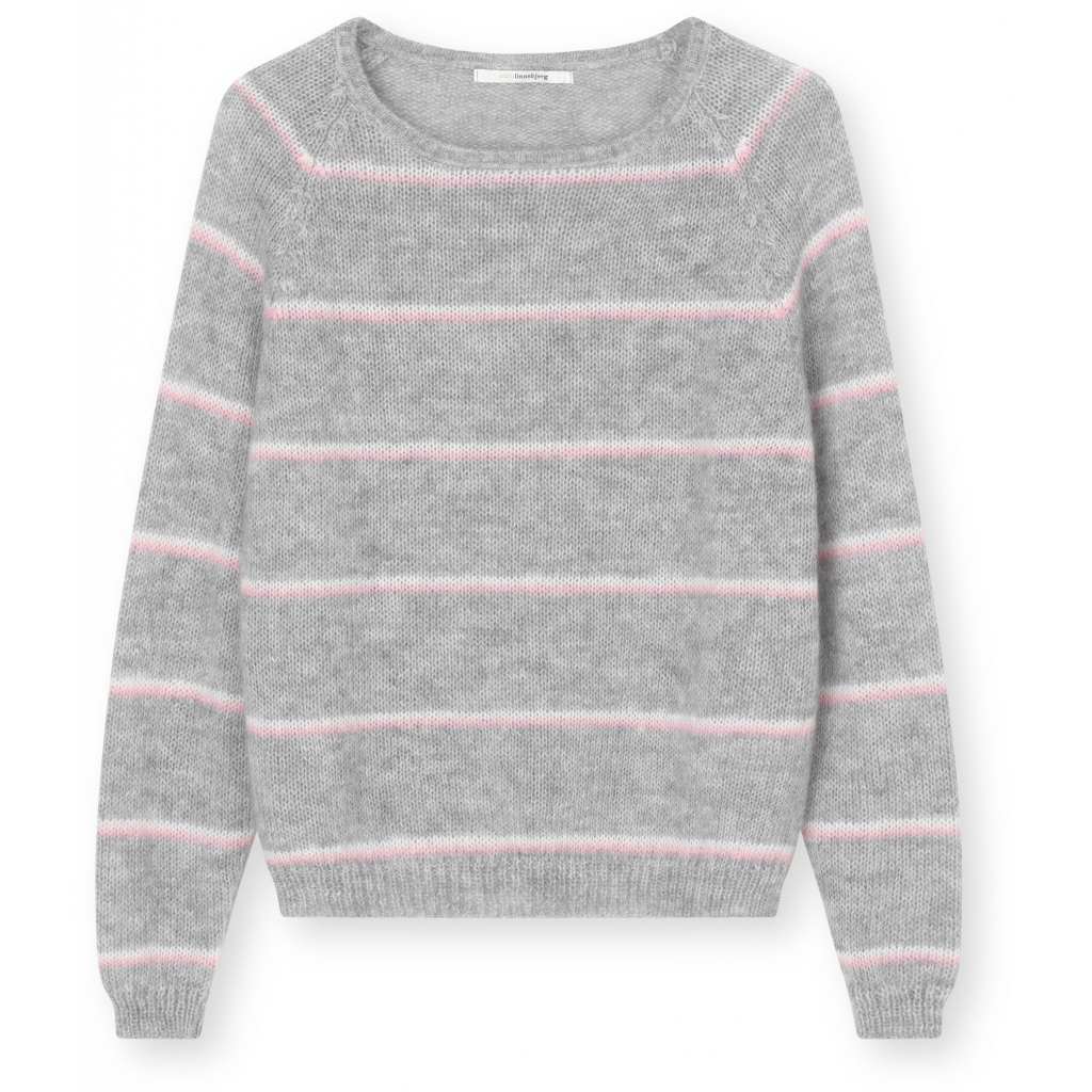 Sibin Linnebjerg Jayda Knit in Grey with Pink, Peach and White Stripe